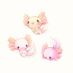 Adorable mythical creature-----> its not mythical. its an axalotol. (But in pretty sure i spelt it wrong tho) >>> axolotl. Cute Animal Drawings, Kawaii Drawings, Cute Drawings, Pretty Art, Cute Art, Kawaii Art, Cute Creatures, Mythical Sea Creatures, Cute Cartoon