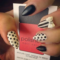 Black & White Stiletto Nails!  Come to Luxury Spa & Nails for all of your pampering needs! Call (803) 731-2122 or visit www.luxuryspaandnails.weebly.com for more information!