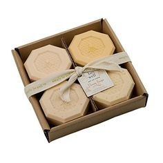 Enjoy the simple pleasures of clean, smooth skin with these four beautifully scented soaps •Made with natural ingredients and delightful fragrances that willl indulge your senses •One each Honey, Honey & Aloe, Honey Almond, and Honey Oatmeal, each 4 ounces Simply Be Well Organics (Plant Based) Set of Four Honey Bar Soap Set - Gift Box Individual Soaps - Honey, Honey Aloe, Honey Oatmeal & Honey $15.75