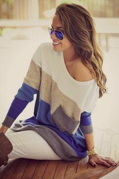 White, blue, grey & tan oversized sweater with aviators