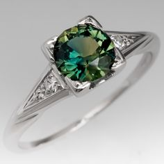 Green Blue Sapphire Engagement Ring 1940's Jabel White Gold Mounting