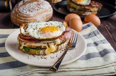 This savory breakfast sandwich is made with golden brown sourdough, ham and a fried egg. It's the perfect sandwich to enjoy for breakfast or even dinner tonight, pair it with your favorite sides and enjoy. Breakfast Sandwich Recipes, Lunch Recipes, Appetizer Recipes, Cooking Recipes, Breakfast For Dinner, Breakfast Dishes, Sandwiches Gourmets, Croque Madame Recipe, Gourmet Sandwiches