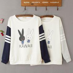 Áo hình hai chú thỏ Kawaii, Kawaii Fashion, Cute Fashion, Teen Fashion, Fashion Outfits, Korean Fashion, 1st Birthday Shirts, Shirts For Teens, Kawaii Clothes, Girls Sweaters