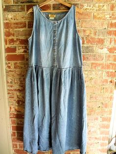 Farmhouse Chic Denim Dress Size16 18 Grungy Washed Faded Retro Old Canton Clothing Co Shabbyfab Plus Size Thrifted Cool Clothes