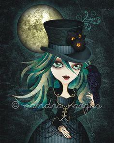 Raven's Moon 8 x 10 Art Print Victorian Gothic by sandragrafik