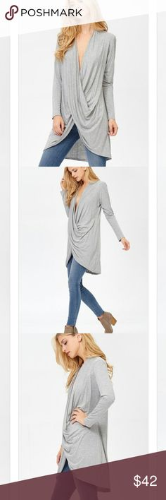 ☄Heather Gray Twist Front Beautiful twist front long cardigan *BUNDLE & save with our DISCOUNT * Tops Blouses