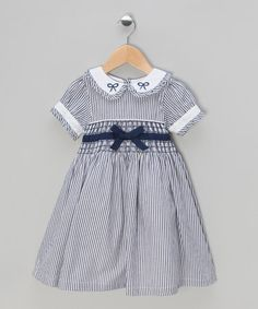Navy Striped Hand-Smocked Dress - Infant, Toddler & Girls by Couche Tot on #zulilyUK today!