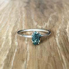 Raw Ocean Green Diamond Ring