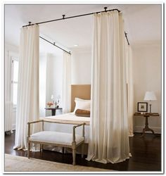 ceiling rod | Ceiling Mount Curtain Rods Canopy Bed - Canopy bed with curtains rods