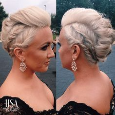 Faux hawk edgy updo hair for a formal wedding bridesmaid