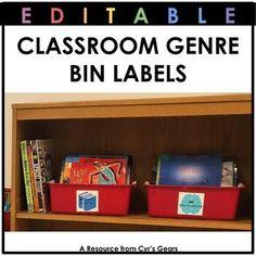 Classroom Genre Bin Labels by Cyr's Gears Bin Labels, Genre Labels, Literary Nonfiction, Traditional Literature, Library Organization, Realistic Fiction, Comic Sans, Historical Fiction, Teacher Pay Teachers