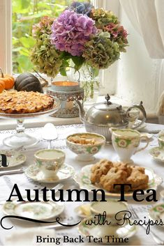 3 Ideas for Serving an Autumn Tea Vintage Tea Parties, Mad Tea Parties, Afternoon Tea Parties, Afternoon Tea Recipes, Vintage Party, Tea Table Settings, Tea Party Sandwiches, Tea Party Table, Autumn Tea