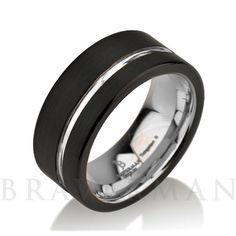 Black Tungsten Wedding Band Ring Tungsten 9mm by BravermanOren