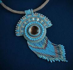 Embroidered Necklace  beadwork jewelry  beaded by suzidesign
