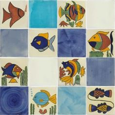 Fish 1 Mexican Tile Set   16 Talavera Tiles