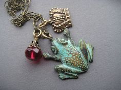 Frog Necklace  Frog Jewelry  Princess by SilverTrumpetJewelry, $27.00
