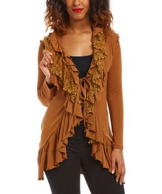 Look what I found on #zulily! Brown Ruffle Tie-Front Cardigan by Young Essence #zulilyfinds