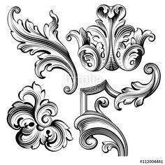 Retro Embroidery Patterns Vintage Baroque Victorian frame border monogram floral ornament leaf scroll engraved retro flower pattern decorative design tattoo black and white filigree calligraphic vector heraldic shield swirl - Design Tattoo, Flower Tattoo Designs, Flower Tattoos, Tattoo Floral, Baroque Tattoo, Filigree Tattoo, Retro Flowers, Vintage Flowers, Vintage Floral