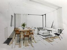 Portfolio guidance for Architecture applicants Interior Design Renderings, Interior Sketch, Home Interior Design, Interior And Exterior, Architecture Sketchbook, Architecture Panel, Interior Architecture, Lofts, Layout