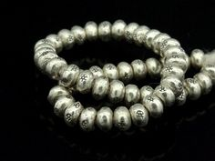 Karen Hill Tribe Silver 60 Print Solid Seed Beads 3x2mm