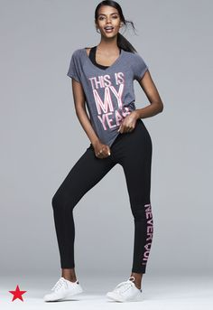 2017 is officially your year! So, start dressing like it with new activewear from Macy's. Fun graphic tees and cool leggings make the perfect look for sweating it out at the gym or running errands. Click to shop for your perfect new outfit.