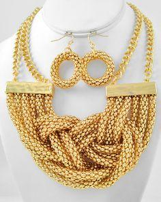 Gold Tone Metal / Multi Strand / Necklace & Fish Hook Earring Set