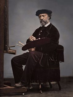 Charles-François Daubigny (1817-1878) was one of the painters of the Barbizon school, and is considered an important precursor of Impressionism. Photo: Étienne Carjat, colorized by painters-in-color
