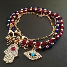 Wholesale Jewelry New Tassels Crystal Chain Evil Eye Hamsa Hand Fatima Palm Bracelet For Women Jewelry Wholesale 8975 Hand Bracelet, Evil Eye Bracelet, Stone Bracelet, Bracelets Bleus, Bangle Bracelets, Bangles, Blue Bracelets, Charm Jewelry, Beaded Jewelry