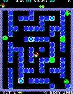Pengo, Sega, One of my all-time favorite arcade games, blending action with a puzzle element. 80s Video Games, Classic Video Games, Retro Games, School Videos, Pinball, Arcade Games, Game Design, Game Art, Consoles