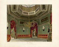 Vestibule, Carlton House, London, from Pyne's Royal Residences, 1819 Vintage Architecture, Architecture Plan, Interior Architecture, Interior Design, Waterloo Map, Carlton House, English Castles, Royal Residence, Regency Era