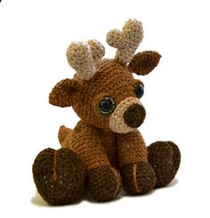 This is Marley, a sweet little Reindeer, looking for a friend! Marley measures about 8 inches sitting in a DK yarn, but he can be made from any weight yarn and appropriate hook for different sizes. It is an easy pattern to follow with plenty of diagrams and you will always be welcome to contact me for any extra help.