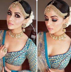 Makeup Artist Reveals - Smokin' hot eye makeup looks for your pre wedding celebrations Picking the best eye makeup trends 2017 for the perfect eye game for your pre wedding celebrations.Stylists reveal Wedding week worthy DIY Eye Makeup Looks! Indian Wedding Makeup, Indian Bridal Fashion, Indian Bridal Wear, Indian Wedding Outfits, Bridal Outfits, Indian Bridal Jewelry, Indian Eye Makeup, Indian Makeup Looks, Indian Marriage Makeup