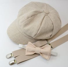 f76f1d04d08 SET Herringbone LIGHT TAN Newsboy Cap Hat   Tan Bow Tie   Tan Khaki  Suspenders   Kids Baby Page Boy Outfit Set   Newborn - 10 Years sizes