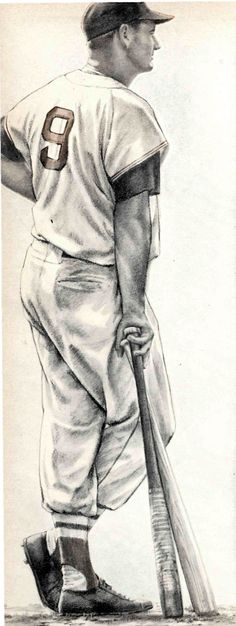 Robert Riger illustration of Red Sox slugger Ted Williams.