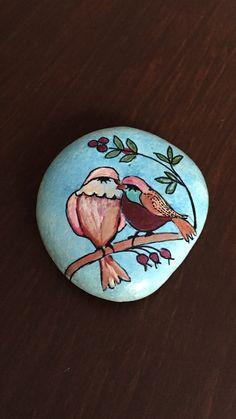 Painted stones -Stone art - Bird prints - Pebble art