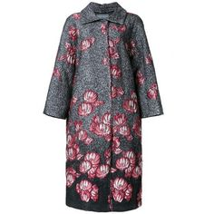 ALBERTA FERRETTI floral jacquard coat ($1,470) ❤ liked on Polyvore featuring outerwear, coats, alberta ferretti, alberta ferretti coat, floral print coat, jacquard coat and floral coat