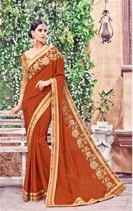 orange banglori,net designer saree