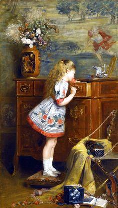 Mother's Treasure by Louis-Charles Verwée (Belgian, 1832-1882)