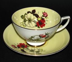 Vintage Royal Stafford Yellow Wild Rose Floral Teacup and Saucer! LOVELY Royal Stafford Wild Rose China Teacup and Saucer with Red and White Flower Decoration! Vintage Dishes, Vintage Tableware, Royal Stafford, Antique Tea Cups, Teapots And Cups, China Tea Cups, Best Tea, Porcelain Mugs, Tea Cup Saucer