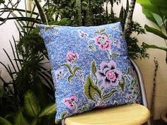 Blue Batik Pillow by LyliCraft