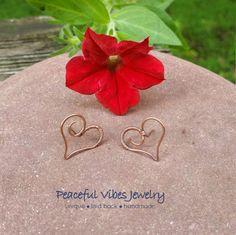 Handmade Copper Heart Earrings Simple Minimalist Wire Wrapped Earrings Artisan Jewelry by PeacefulVibesJewelry on Etsy