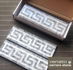 Incredible Carrara Venato and Bardiglio Gray Marble Greek Key Border Greek Design, Key Design, Marble Mosaic, Mosaic Tiles, Mosaics, Pool Tiles, Carrara Marble, White Master Bathroom, Downstairs Bathroom