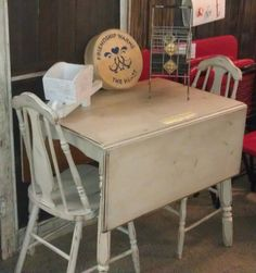 nice old wood drop leaf table and chairs we painted white distressed then antiqued - Drop Leaf Table Kitchen