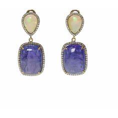 Ri Noor - Opal Tanzanite & Diamond Earrings (58 715 UAH) ❤ liked on Polyvore featuring jewelry, earrings, 14k earrings, tanzanite jewelry, opal jewelry, handmade jewellery and 14k diamond earrings