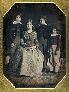 Anonymous: Daguerreotype, Three Brothers And Their Sister, ca 1845.