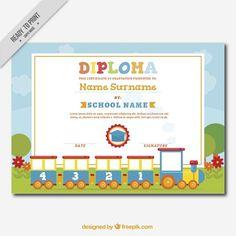 Decorative diploma for kids with a fantastic train Free Certificate Templates, Free Certificates, School Certificate, Kindergarten Worksheets, Homeschool, Presents, Success, Vector Freepik, Education