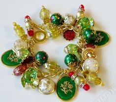 Green Red Gold Bead Winter Holiday Christmas OOAK Charm Bracelet | eBay