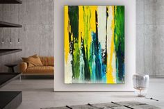 Large Abstract Painting Kitchen Decor Oversized Wall Art image 1 Colorful Artwork, Colorful Paintings, Oversized Wall Art, Bathroom Wall Art, Extra Large Wall Art, Office Wall Art, Modern Wall Decor, Large Painting, Texture Art