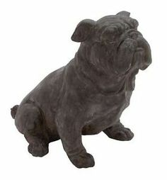 "NICE! Large 17"" BULLDOG Dog Figurine Figure Statue Accent POLYSTONE IN/Outdoor"