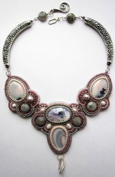 Embroidered necklaces by Alina Limonova   Beads Magic